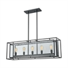 Eastgate 5 Light Chandelier In Textured Black With Seedy Glass