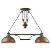 Farmhouse 2 Light Pulldown Island Light In Tarnished Brass