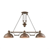Farmhouse 3 Light Pulldown Island Light In Tarnished Brass