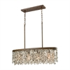 Agate Stones 4 Light Chandelier In Weathered Bronze With Gray Agate Stones