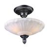 Restoration Flushes 3 Light Semi Flush In Dark Silver And White Antique Glass