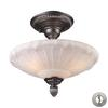 Restoration Flushes 3 Light Semi Flush In Dark Silver And White Antique Glass - Includes Recessed Lighting Kit