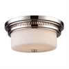ELK lighting Chadwick 2 Light Flushmount In Polished Nickel And White Glass