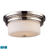 ELK lighting Chadwick 2 Light LED Flushmount In Polished Nickel And White Glass