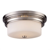 ELK lighting Chadwick 2 Light Flushmount In Satin Nickel And White Glass