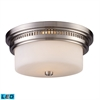 ELK lighting Chadwick 2 Light LED Flushmount In Satin Nickel And White Glass
