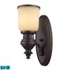 ELK lighting Chadwick 1 Light LED Wall Sconce In Oiled Bronze And Amber Glass