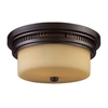 ELK lighting Chadwick 2 Light Flushmount In Oiled Bronze And White Glass