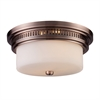 ELK lighting Chadwick 2 Light Flushmount In Antique Copper And White Glass