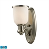 ELK lighting Brooksdale 1 Light LED Wall Sconce In Satin Nickel And White Glass