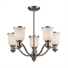 ELK lighting Brooksdale 5 Light Chandelier In Satin Nickel And White Glass