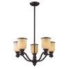ELK lighting Brooksdale 5 Light Chandelier In Oiled Bronze And Amber Glass