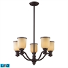 Brooksdale 5 Light LED Chandelier In Oiled Bronze And Amber Glass