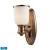 ELK lighting Brooksdale 1 Light LED Wall Sconce In Antique Copper And White Glass