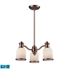 ELK lighting Brooksdale 3 Light LED Chandelier In Antique Copper And White Glass
