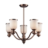 ELK lighting Brooksdale 5 Light Chandelier In Antique Copper And White Glass