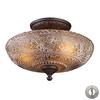Norwich 3 Light Semi Flush In Oiled Bronze And Amber Glass - Includes Recessed Lighting Kit