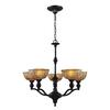 ELK lighting Norwich 5 Light Chandelier In Oiled Bronze And Amber Glass