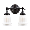Quinton Parlor 2 Light Vanity In Oiled Bronze And White Glass