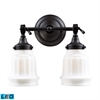 ELK lighting Quinton Parlor 2 Light LED Vanity In Oiled Bronze And White Glass
