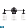 ELK lighting Quinton Parlor 3 Light LED Vanity In Oiled Bronze And White Glass