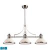 Chadwick 3 Light LED Billiard In Polished Nickel And White Glass