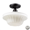 ELK lighting Quinton Parlor 1 Light Semi Flush In Oiled Bronze And White Glass - Includes Recessed Lighting Kit