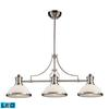 Chadwick 3 Light LED Billiard In Satin Nickel And White Glass