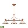 Chadwick 3 Light LED Billiard In Antique Copper And White Glass