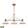 Chadwick 3 Light LED Billiard In Antique Copper And White Glass