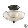 Restoration Flushes 3 Light Semi Flush In Oiled Bronze - Includes Recessed Lighting Kit