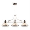 Chadwick 3 Light Billiard In Polished Nickel And Cappa Shells