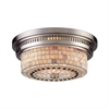 ELK lighting Chadwick 2 Light Flushmount In Satin Nickel And Cappa Shells