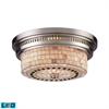 ELK lighting Chadwick 2 Light LED Flushmount In Satin Nickel And Cappa Shells