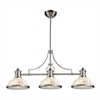 Chadwick 3 Light Billiard In Satin Nickel And Cappa Shells