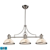 Chadwick 3 Light LED Billiard In Satin Nickel And Cappa Shells