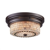 ELK lighting Chadwick 2 Light Flushmount In Oiled Bronze And Cappa Shells