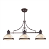 Chadwick 3 Light Billiard Light In Oiled Bronze And Cappa Shells