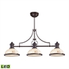 Chadwick 3 Light LED Billiard Light In Oiled Bronze And Cappa Shells