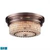 ELK lighting Chadwick 2 Light LED Flushmount In Antique Copper And Cappa Shells