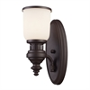 Chadwick 1 Light Wall Sconce In Oiled Bronze And White Glass