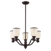 Brooksdale 5 Light Chandelier In Oiled Bronze And White Glass