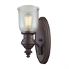 ELK lighting Chadwick 1 Light Wall Sconce In Oiled Bronze And Halophane Glass