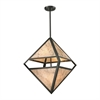 ELK lighting Mica 4 Light Pendant In Oil Rubbed Bronze And Marble Printed Mica