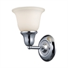 Berwick 1 Light Wall Sconce In Polished Chrome And White Glass