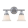 Berwick 2 Light Vanity In Polished Chrome And White Glass