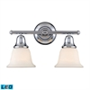 ELK lighting Berwick 2 Light LED Vanity In Polished Chrome And White Glass