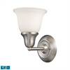 ELK lighting Berwick 1 Light LED Wall Sconce In Brushed Nickel And White Glass
