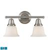 Berwick 2 Light LED Vanity In Brushed Nickel And White Glass