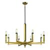 Mandeville 8 Light Chandelier In Satin Brass With Oil Rubbed Bronze Accents